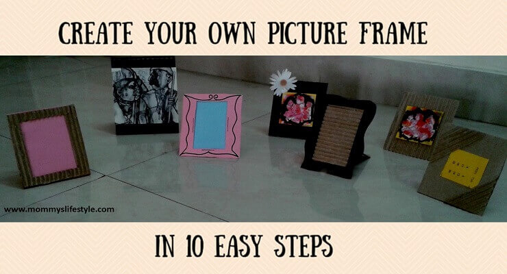 Diy photo frame with cardboard home decor simplified for Decorative items for home with waste material